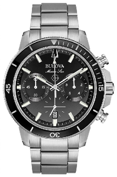 Stainless Steel Case; Six-hand Chronograph Movement; Black Glass Insert on Ratcheted Rotating Bezel; Black Dial with Luminous Hands and Markers; Calendar; Domed Mineral Crystal; Stainless Steel Bracelet with Fold-over Buckle from the Marine Star Coll