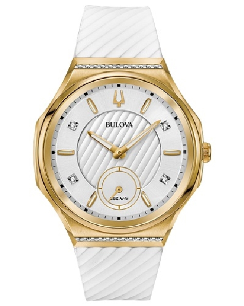 Stainless Steel Yellow Gold Finish Curved Case; Dial and Proprietary Movement Features High-Performance Quartz Technology with 262 kHz Vibrational Frequency for Precise Accuracy. 26 Diamonds Set on Gold-tone Stainless Steel Case and Silver-white Dial