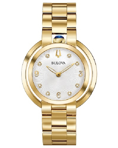Stainless Steel with Gold-tone Finish; Synthetic Blue Spinel Cabachon Crown at 12 O clock Position; Eight Diamonds Individually Hand-set on Textured Silver-White Dial; Multi-link Gold-tone Bracelet; Double Curved Sapphire Crystal; Iconic Dye Struck