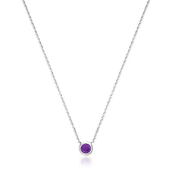 Amethyst Bezel Set 10K White Gold Pendant and Chain - 17 Inch