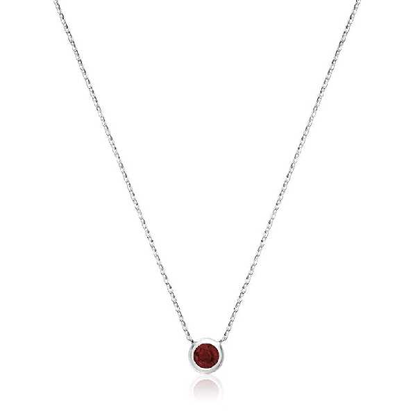 Garnet Bezel Set 10K White Gold Necklace - 16-18 Inch