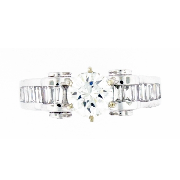 1.20ct Centre Diamond VS2 Clarity; I Colour set in 1.10ctw Baguette and Round Diamond 18K White Gold Ring