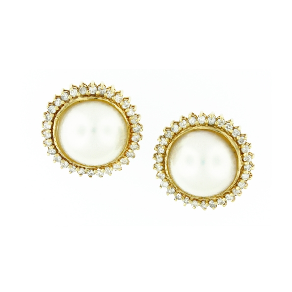 1.10CT Diamond and Mabe Pearl 14K Omega Back Earrings