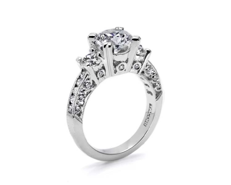 HT 2326 1/2 W 1.10ctw Diamond VS Clarity; G Colour Classic Crescent 18K White Gold Ring with Cubic Zirconia Centre by Tacori - Serial No. 150680