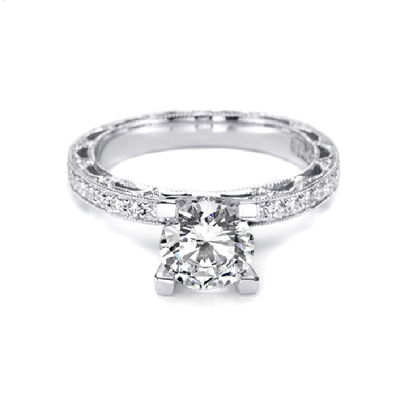 HT 2511 A - 0.72ct Diamond VS2 Clarity; G Colour Eternity set with Cubic Zirconia Centre Hand Engraved Platinum Reverse Crescent Tacori Ring - Serial No. T7040-