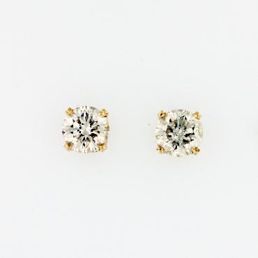 2.27ctw Diamond I2 Clarity; KL Colour 14K Yellow Gold Screw-back Stud Earrings.