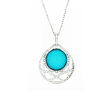Small Love Haze Pendant set with Turquoise and Quartz (19.03ct) and 0.84ctw White Diamonds 18K White Gold Pendant and 17 Inch Chain by Stephen Webster