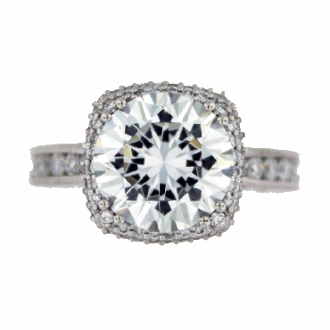 HT 2607 RD 10 1.31ctw Diamond VS Clarity; G Colour Set with Cubic Zirconia Centre Tacori Royal T Platinum Ring Mount  - Serial No. 157718