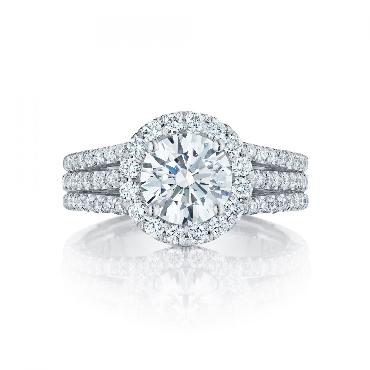 HT 2551 RD 6.5 0.82ctw Diamond VS Clarity G Colour set with Cubic Zirconia Centre Petite Crescent Halo Tacori Platinum Ring Mount - Serial No. 249460