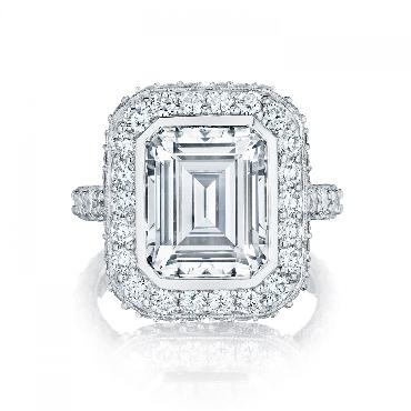 HT 2614 EC 10x8 1.77ctw Diamond VS Clarity; G Colour Set with Emerald Cut Bezel Set Cubic Zirconia Centre 3/4 way Tacori Royal T Platinum Ring Mount  - Serial No. 257441