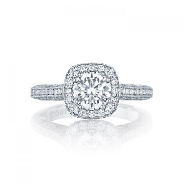 HT 2550 CU 6.5 W 0.79ctw Diamond VS Clarity G Colour set with Cubic Zirconia Centre Classic Crescent Tacori 18K White Gold Ring Mount - Serial No. 284599