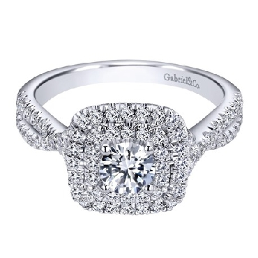 0.46ct Canadian Centre Diamond with 0.53ctw Diamond SI2 Clarity; GH Colour 14K White Gold Adore Ring by Gabriel & Co.