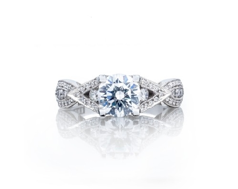 2647 RD 6.5 0.46ctw Diamond VS Clarity; G Colour with Cubic Zirconia Centre Ribbon Platinum Ring Mount  by Tacori - Serial No. 316709