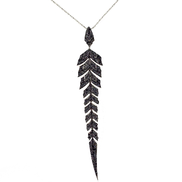 Stephen Webster Magnipheasant Pave Pendant 1.74ctw Black Diamond 18K White Gold with 30 Inch Chain