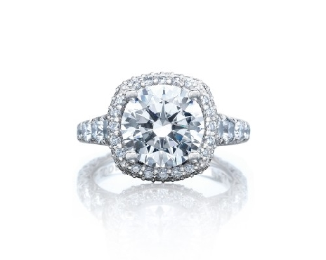 HT 2624 CU 8 - 1.85ctw Diamond VS Clarity; G Colour set with Cubic Zirconia Centre Cushion Bloom Royal T Platinum Ring by Tacori - Serial No. 322467