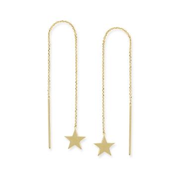 Star 14K Yellow Gold Threader Earrings