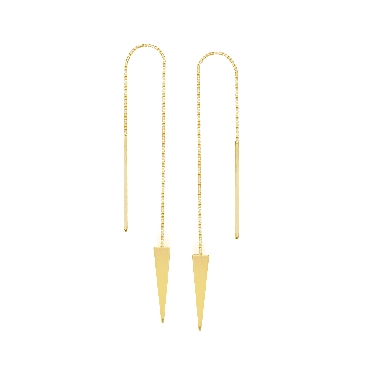 Triangle 14K Yellow Gold Threader Earrings