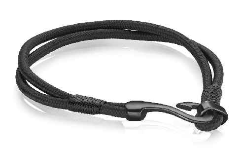 Stainless Steel with Gunmetal Ion Plated Hook Clasp and Black Nylon Bracelet by Italgem Steel