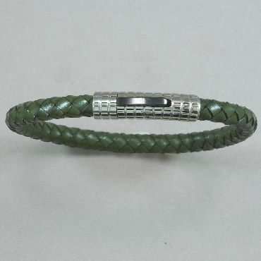Stainless Steel Black Ion Plated Design Push Clasp Army Green Leather Bracelet by Italgem Steel