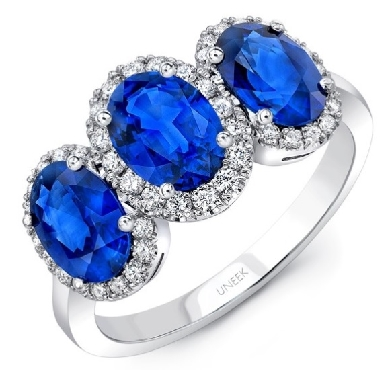 Three Oval Blue Sapphire 2.8ctw set with 0.37ctw Diamond SI Clarity; GH Colour 18K White Gold Ring by Uneek Fine Jewellery