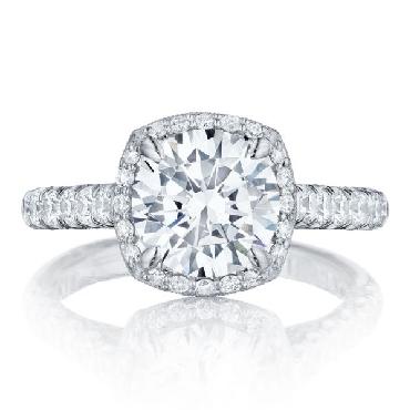 HT 2547 2.5 CU 8 - 0.77ctw Diamond VS Clarity G Colour set with Cubic Zirconia Centre Petite Crescent Tacori Platinum Ring Mount - Serial No. 340860