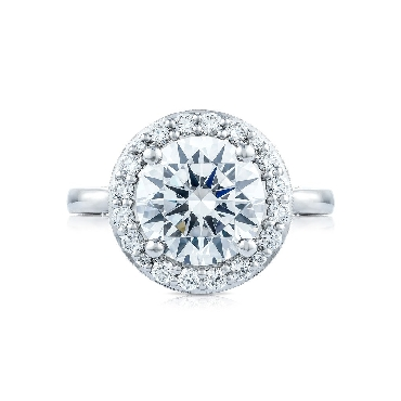 HT 2651 RD 9.5 - 0.68ctw Diamond VS Clarity; G Colour set with Cubic Zirconia Centre Royal T Bloom Solitaire Platinum Ring by Tacori - Serial No. 351051