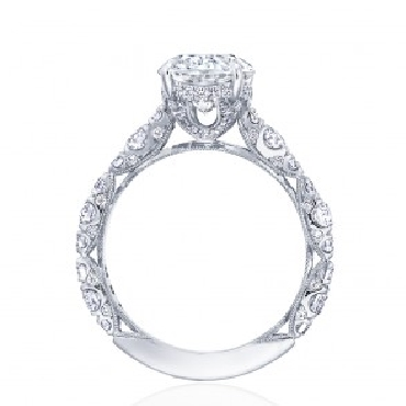 HT 2654 OV 10 x 8 - 1.15ctw Diamond VS Clarity; G Colour set with Oval Cubic Zirconia Centre Royal T Platinum Ring by Tacori - Serial No. 375107