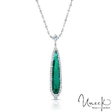 Elongated Tear Drop Indicolite Green Tourmaline 4.88ct with 0.23ct Kite Shape and 0.28ct Shield Shape and 0.84ctw Round Diamonds VS Clarity; G Colour 18K White Pendant on a 17 Inch 0.65ctw Diamond Bezel 18K White Gold Chain by Uneek Fine Jewellery