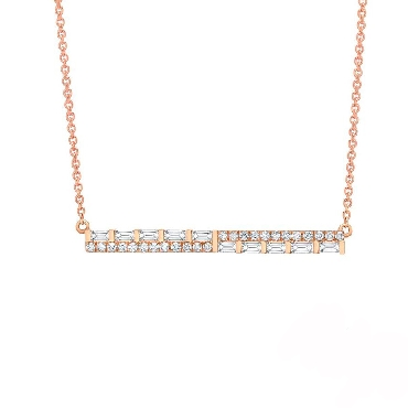 0.27ctw Baguette and Round Diamond SI Clarity; GH Colour Bar 14K Rose Gold Necklace by Uneek Fine Jewellery