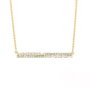 0.27ctw Baguette and Round Diamond SI Clarity; GH Colour Bar 14K Yellow Gold Necklace by Uneek Fine Jewellery
