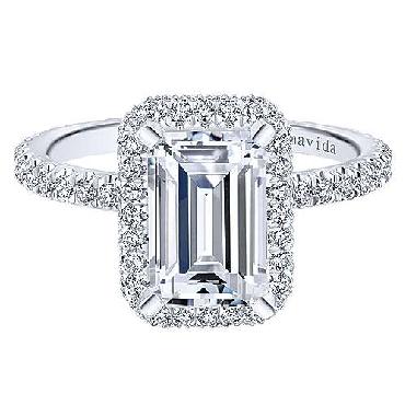 0.75ctw Diamond VS Clarity; GH Colour Double Halo Emerald Cut Cubic Zirconia Centre 18K White Gold Ring - Amavida by Gabriel & Co. - Serial No. S899063
