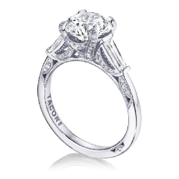 HT 2657 RD 10 - 0.68ctw Baguette and Round Diamonds VS Clarity; G Colour set with Cubic Zirconia Centre Royal T Solitaire Platinum Ring by Tacori - Serial No. 375693