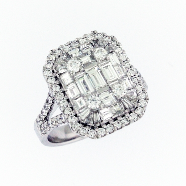 Large Emerald Shape 1.96ctw Baguette and Round Diamonds VS Clarity; FG Colour Illusion Style 18K White Gold Ring