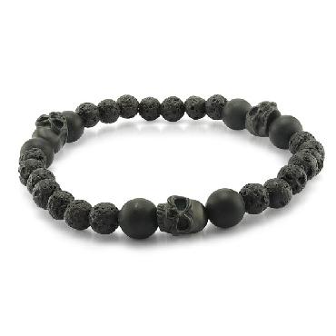 7.75 Inch Black IP Matte Finish Stainless Steel Skull Onyx and Lava Bracelet on Stretch Bracelet by Italgem Steel- Small