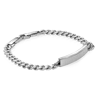 Stainless Steel Curb Link with 7mm ID-Plate Bracelet 7 Inch with Extension by Italgem Steel