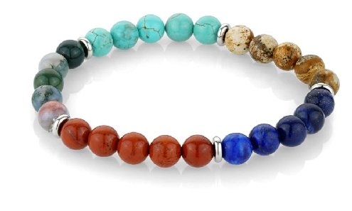 Stainless Steel 8mm Assorted Bead Stretch Bracelet by Italgem Steel- Small