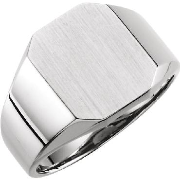 Rectangular Signet Sterling Silver Ring