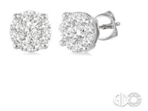 1.00ctw Diamond SI Clarity; GH Colour Love Bright Solitaire 14K White Gold Earrings