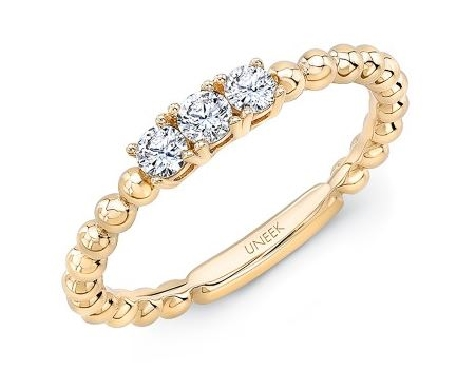 0.25ctw Diamond SI Clarity; GH Colour Three Stone Beaded 14K Yellow Gold Ring by Uneek Fine Jewellery