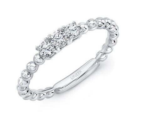 0.25ctw Diamond SI Clarity; GH Colour Three Stone Beaded 14K White Gold Ring by Uneek Fine Jewellery