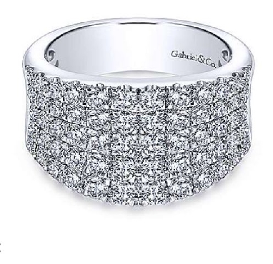 1.92ctw Five Row Pave Diamond GH Colour; SI2 Clarity Wide Curved Fashion 14K White Gold Ring from the Lusso Collection by Gabriel & Co. - Serial No. S1041074