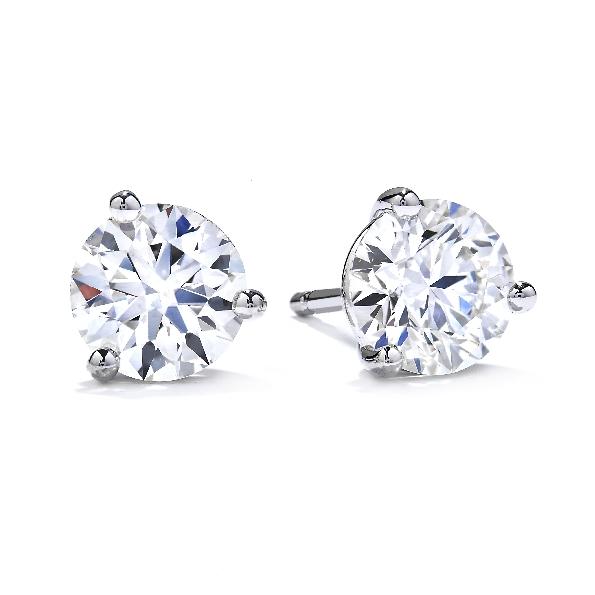 1.10ctw Hearts on Fire Diamond VS-SI Clarity; I-J Colour Three Prong 18K White Gold Stud Earrings