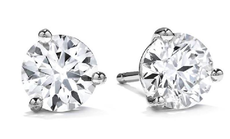 2.131ctw Hearts on Fire Diamond VVS2 Clarity; J Colour (HOF159633 & HOF163059) Three Prong 18K White Gold Diamond Studs
