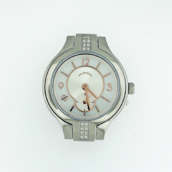 Mini Round Sport Diamond Fashion Mother of Pearl Dial with Rose Markers Signature Philip Stein Watch - Serial No. 44TF011045