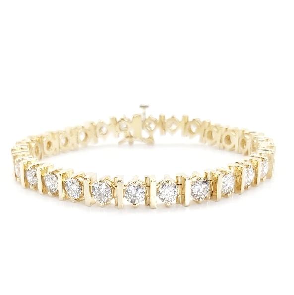 8.00ct Diamond SI2-I1 Clarity; GH Colour 14K Yellow Gold Tennis Bracelet - 7 Inch
