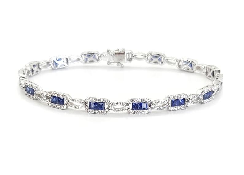 Blue Sapphire 2.64ctw set with 1.44ctw Diamond 18K White Gold Bracelet By Gregg Ruth