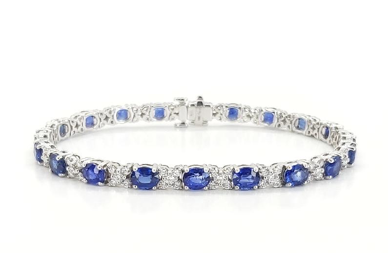 Oval Blue Sapphire 10.50ctw set with 2.26ctw Diamond SI Clarity; GH Colour 18K White Gold Bracelet by Uneek Fine Jewellery