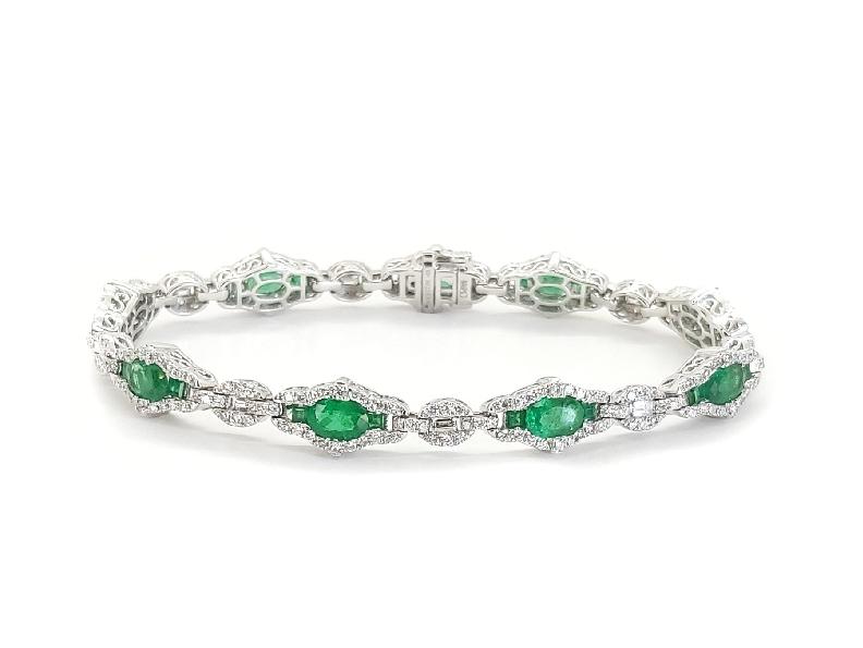 Emerald 4.42ctw set with 2.15ctw Diamond 18K White Gold Bracelet By Gregg Ruth