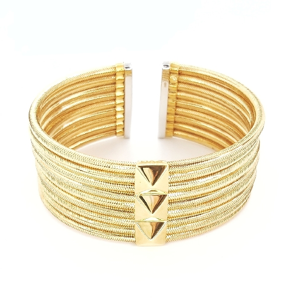 Wide Kiss Collection 18K Yellow and White Gold Cuff Bracelet by Ponte Vecchio Gioielli