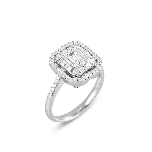 0.58ctw Baguette and 0.39ctw Round Diamond VS1 Clarity; G Colour Benvenuto 18K White Gold Ring by Ponte Vecchio Gioielli